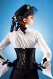 Hintere Ansicht des attraktiven Mädchens im Korsett Lizenzfreie Stockfotografie
