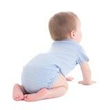 Hintere Ansicht des Babykleinkindes lokalisiert auf Weiß Lizenzfreie Stockfotografie