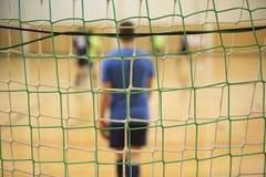 Hintere Ansicht des futsal Torhüters mit Netz von Toren Lizenzfreie Stockfotografie
