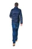 Hintere Ansicht des gehenden gutaussehenden Mannes in den Jeans und in der Jacke Lizenzfreies Stockfoto