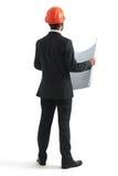 Hintere Ansicht des Geschäftsmannes im orange Hardhat Lizenzfreie Stockfotos