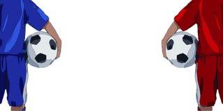 Hintere Ansicht des Jugendfußballspielers in der Uniform Auch im corel abgehobenen Betrag Stockfotografie