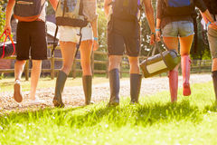 Hintere Ansicht des junge Leute-gehenden Kampierens am Musik-Festival Stockbilder
