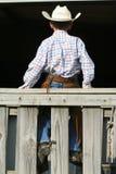 Hintere Ansicht des jungen Cowboys Stockfotografie