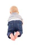 Hintere Ansicht des kleinen Babykleinkindes lokalisiert auf Weiß Stockfotos