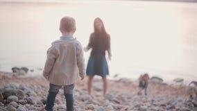 Hintere Ansicht des kleinen Jungen Schritte auf den Felsen machend Mutterwartesohn im Abstands- und Stützjungen geben nicht auf stock video