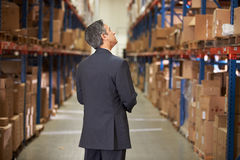 Hintere Ansicht des Managers In Warehouse Stockfoto