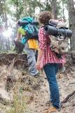 Hintere Ansicht des Mannes kletternde Klippe des weiblichen Wanderers im Wald aufpassend Lizenzfreie Stockbilder