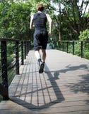 Hintere Ansicht des Mannes laufend über Brücke Lizenzfreie Stockfotos