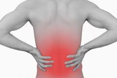 Hintere Ansicht des muskulösen Mannes mit Rückenschmerzen Lizenzfreie Stockfotografie