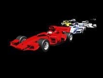 Hintere Ansicht des roten Rennwagens 3D Stockfotos