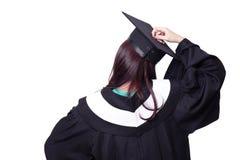 Hintere Ansicht des Student im Aufbaustudiumenmädchendenkens Stockfotos