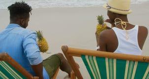 Hintere Ansicht des trinkenden Ananassafts der Afroamerikanerpaare auf dem Strand 4k stock video
