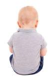 Hintere Ansicht des wenig Babysitzens lokalisiert auf Weiß Stockfoto