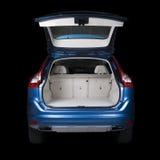 Hintere Ansicht eines blauen Autos Stockfotos