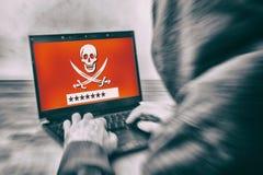 Hintere Ansicht eines Hackers Lizenzfreie Stockbilder