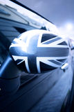Hintere Ansicht-englisches Markierungsfahnen-Auto Stockbild