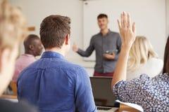 Hintere Ansicht reifer Student-Asking Question In-Klasse lizenzfreie stockbilder