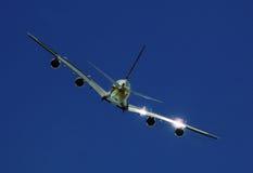 Hintere Ansicht von Airbus A-380 Stockbild