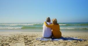 Hintere Ansicht von den aktiven älteren kaukasischen Paaren, die auf dem Strand 4k sich entspannen stock video footage