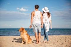 Hintere Ansicht von den Paaren, die mit Hund auf dem Strand gehen Lizenzfreies Stockbild