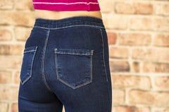 Hintere Ansicht von Frauenhinterteilen in den Jeans Lizenzfreies Stockbild