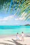 Hintere Ansicht von kleinen Mädchen auf sandigem Strand Glückliche Kinder unter der Palme auf tropischem Strand Stockfoto