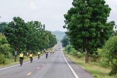 Hintere Ansicht von Radfahrenleuten Stockfoto