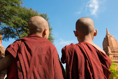 Hintere Ansicht von zwei kleinen Mönchen lizenzfreies stockbild