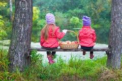 Hintere Ansicht von zwei kleinen Schwestern auf Bank mit Lizenzfreie Stockfotografie