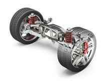 Hintere Autosuspendierung in mehrfacher Verbindung, mit Bremsen und Rädern Stockbild