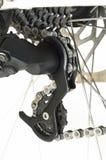Hintere Gangkomponenten des Fahrrades und Radspeichen lizenzfreies stockbild
