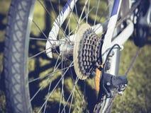 Hintere laufende Fahrradkassette auf dem Rad mit Kette Stockfotos