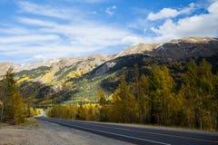 Hintere Straße durch Berge mit ändernden Bäumen von Colorado Stockfotos