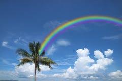 Hintere weiße Wolke des Regenbogens auf Himmel- und Kokosnussbaum, Konzeptgottquerstation Lizenzfreie Stockfotografie