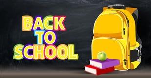 Hinterer Hintergrund auf einem Schulthema mit einem Rucksack, Apfel, Bücher Stockfotos