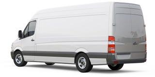 Hinterer Winkel von cargo van car Lizenzfreies Stockbild
