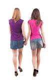 Hinteres Ansichtgehen jungen Mädchens zwei (Brunette und Blondine) stockbild