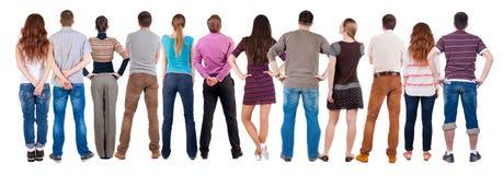 Hinteres Ansichtgruppe von personenen-Schauen Lizenzfreies Stockbild