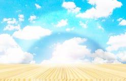 Hintergründe des Holzfußbodens und des blauen Himmels Lizenzfreies Stockfoto