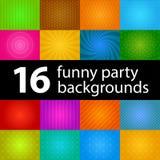 Hintergründe für lustige Kinderdarstellungs- oder -feiertagsdesigne, Satz von 16 Hintergründen Lizenzfreie Stockfotos