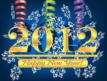 Hintergrund 2012 mit Ausläufer und Schneeflocken Lizenzfreies Stockfoto