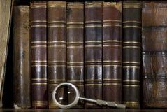 Hintergrund: alte Bücher auf einem Regal und einer Lupe Lizenzfreie Stockfotografie