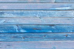 Hintergrund, alte gemalte blaue hölzerne Wand Stockfoto