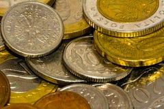 Hintergrund aus Münzen EU-Ländern Makro Lizenzfreies Stockfoto