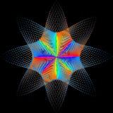 Hintergrund, Beschaffenheit, Abstraktion Farbstelle ein Stern oder eine Blume wird auf schwarzem Hintergrund isoliert lizenzfreie abbildung