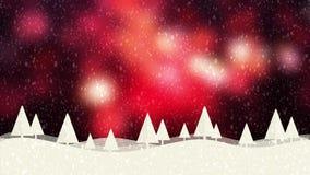 Hintergrund bokeh Rot der Schnee- und Weihnachtsbäume HD 1080 stock abbildung