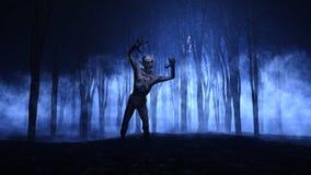 Hintergrund 3D Halloween eines Zombies, der von einem nebeligen Wald auftaucht Lizenzfreie Stockfotografie