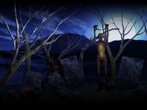 Hintergrund 3D Halloween mit Zombies im Friedhof Stockbild