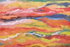 Hintergrund der abstrakten Kunst Orange, gelbe, rote, blaue Beschaffenheit Pinselstriche der Farbe Handgemaltes Bild Zeitgenössis Stockbilder